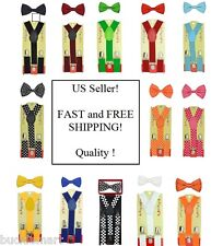 Toddler Kids Boys Girls Baby Suspender and Bow Tie Matching Set USA suspenders