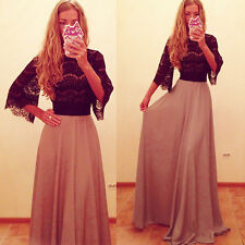 Vintage Sexy Womens Lace Boho Long Maxi Evening Formal Party Prom Cocktail Dress