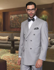 BRAND NEW GRAY MENS SUIT DOUBLE BREASTED & PLEATED PANTS