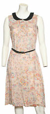 Ladies Oatmeal Floral Peter Pan Collar Dress !!