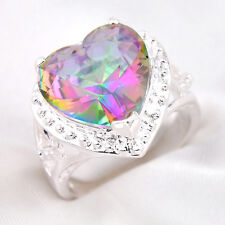 Top Sale Rainbow Heart Topaz Gemstone Silver Jewelry Fashion Ring Size 7 8 9