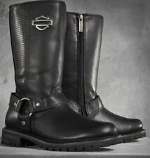 "Harley Davidson New Ladies Lily 11.5"" Harness Boot Black Leather Zip Biker Boots"