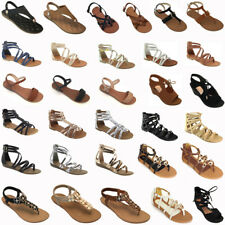 New Women Gladiator Sandals Shoes Thong Flops T Strap Flip Flat Size Strappy Toe