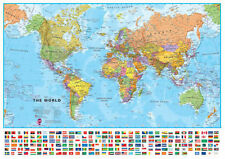 Medium World Wall Map (POLITICAL) Includes Flags *FREE UK SHIPPING*