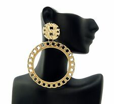 New Celebrity Style Link Chain Round Piece Post Pierced Fashion Earring DE1103