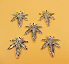 Wholesale Bulk Antique Silver Plated Marijuana Leaf Weed Charm Pendants