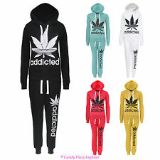 NEW LADIES ADDICTED PRINT TRACKSUIT WOMENS JOGGING BOTTOM HOODIE TOP SIZE 8-14
