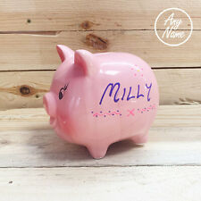 piggy bank style ceramic money box personalised any name or short message