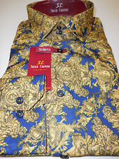 Mens Blue Yellow Gold Artistic Concept Pattern Slim Fit Shirt Suslo Couture M21