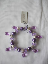 Juelz Traditional  Assorted  Bead Stretch Charm Bracelet Heart  Mix Colour  BNWT