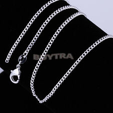 "Light 1pcs 925 Sterling Silver Plated Flat Curb Chain Necklace 16""-24"" FG UK"