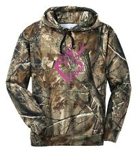 Ladies Love Heart Deer Camo Hoodie Country Girl Buck Outdoor Hunt Gun Pink Sport