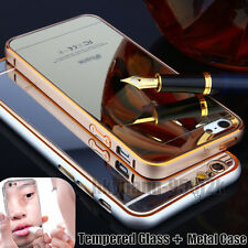 Make-up Luxury Mirror Effect Colour Tempered Glass Back + Metal Frame Case Cover