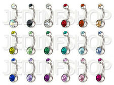 Navel Belly Bar - 1.6mm (14g) - 8mm 10mm 12mm - Stainless Steel - Double Gem