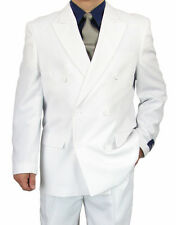 SHARP 2pc DOUBLE BREASTED DB MEN DRESS SUIT WHITE 50R-62L tb06