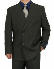 SHARP 2pc DOUBLE BREASTED DB MEN DRESS SUIT CHARCOAL GRAY 50R-62L tb06