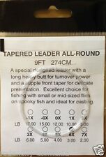 10 Fly fishing Tapered Leaders 9ft Available in 1X,2X, 3X ,4X, 5X ,6X