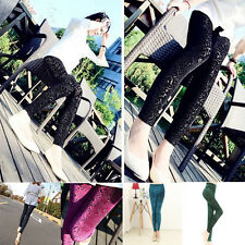 2015 Fashion Sexy Women Lady Rose Lace Through Leggings Pants Footless Trousers