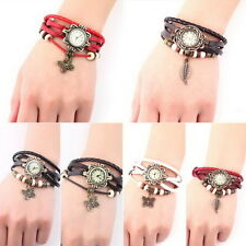 Women Vintage New Leather Bracelet Butterfly Decoration Quartz Wrist Watch HG