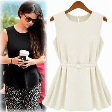 Simple Crew Neck Sleeveless Women's Girls Casual Blouse Shirt Vest Button Belt