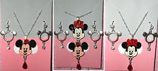 MICKEY and MINNIE MOUSE Rhinestones Pendant Silver Necklace Earrings Set Disney