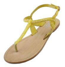 Charles by Charles David Yojana Womens Yellow Leather/Beaded Gladiator Sandals