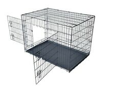 2 Door DOG CRATE KENNEL SUITCASE ABS TRAY Playpen FOLDABLE METAL WIRE DOG CAGE