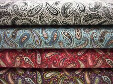 "45"" 100% cotton paisley print fabric, quilting, sewing, crafting, by the yard"