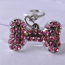 Rhinestone Collar Charm Personalized Bone Shaped Pet Jewelry Dog Accessories