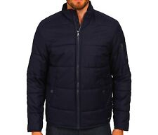 Calvin Klein Men' Winter Quilted Heathered Bubble Puffer Bomber Jacket/Coat Blue