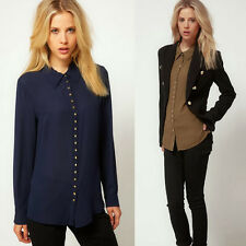 Turndown Collar Rivet Chiffon Women's Lady Button Down Shirt Blouse Tops Casual