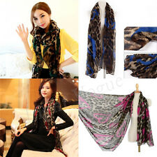 Fashion Womens Leopard Long Soft Silk Voile Neck Scarf Wrap Shawl Scarves 17