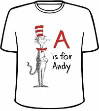 Many Tee Colors-Personalized Dr. Seuss Cat in The Hat Style B T-Shirt