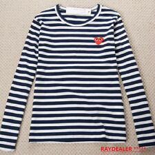 CDG PLAY Comme des Garcons BLUE STRIPED LONG SLEEVES TSHIRT US FREE SHIPPING