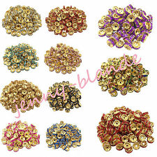 50 100 Gold Plated Crystal Disc Spacer Loose Beads Charms Jewelry Making 8mm DIY