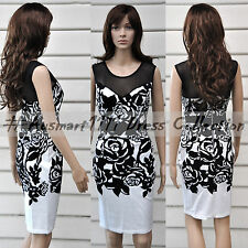 Formal Evening Cocktail Party Dress Black Floral Sleeveless Mesh Stretch Bodycon