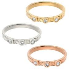Hammered Engagement Wedding Band Ring In 14k Real Gold  0.15 CT Diamond G-H VS2