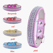 Flashing Rhinestone Collar Glitter Leather Dog Collar Small Products For Dogs