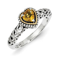 Citrine Heart Ring .925 Sterling Silver w/ 14K Gold Accent Size 6-8 Shey Couture