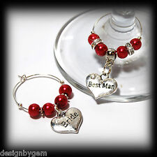 Beautiful Bright red wedding wine glass charms for top table or favours. decor