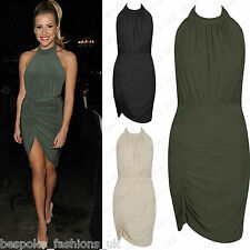 7031 Ladies Womens Celeb Halterneck Sleeveless Ruched Tie Up Backless Mini Dress