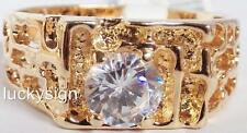 14K  GOLD EP DIAMOND SIMULATED MENS NUGGET SOLITAIRE RING SIZE 11-13 u choose
