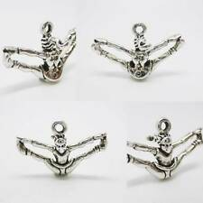 Cheerleader Gymnast 925 Sterling Silver Charm Pendant w Spacer / Bracelet /Chain