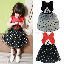 2PCS Baby Kids Girls Sleeveless T-shirt+Polk Dots Tutu Skirt Dress Outfit Sets