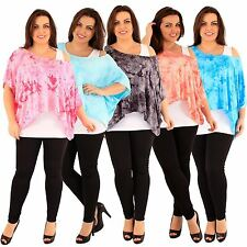 New Ladies Plus Size Tie Dye 2 In 1 Kimono Sleeve Batwing Tops 16-26