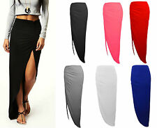 NEW GIRLS AND WOMENS LADIES RUCHED SIDE SPLIT SLIT MAXI SKIRT DRESS SIZE 8-14