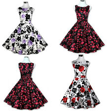 Women's Vintage Floral Boat Neck 50s Pinup Rockabilly Cooktail Party Swing Dress
