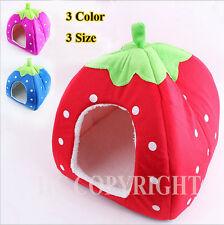 New S/M/L Soft Sponge Strawberry Pet Dog Cat Bed Houses Lovely Warm Doggy Kennel