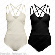 Ladies Women's Cami Spaghetti Cross Over Strap Sleeveless Bodysuit Leotard Top