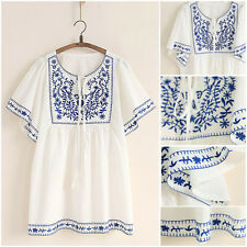 White Women Ethnic Embroidered Boho Hippie Peasant Mexican Loose Blouse Tops
